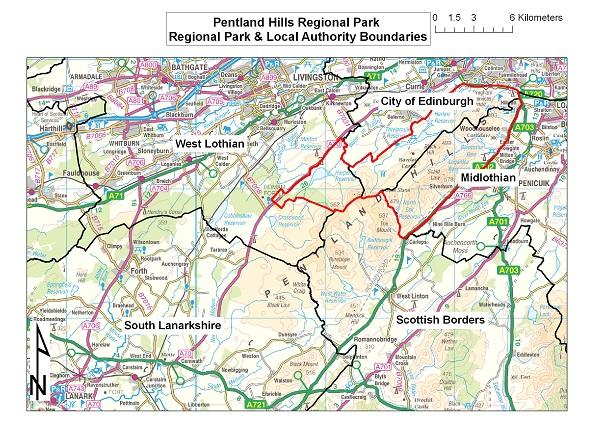 Map of local authority boundaries in the Pentland Hills Regional Park